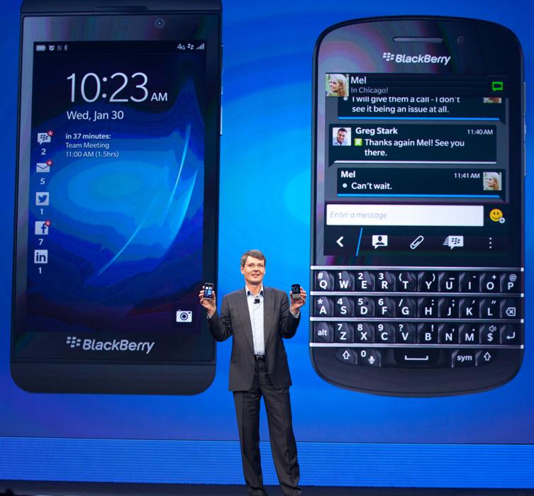 Former BlackBerry CEO Thorsten Heins introducing BlackBerry 10