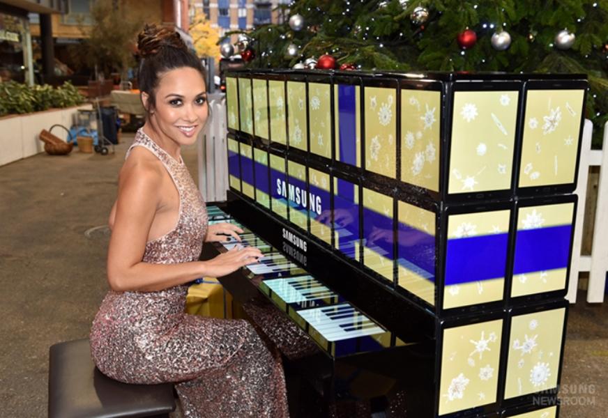 Myleene Klass with Samsung Galaxy Tab S2 tablets-made piano