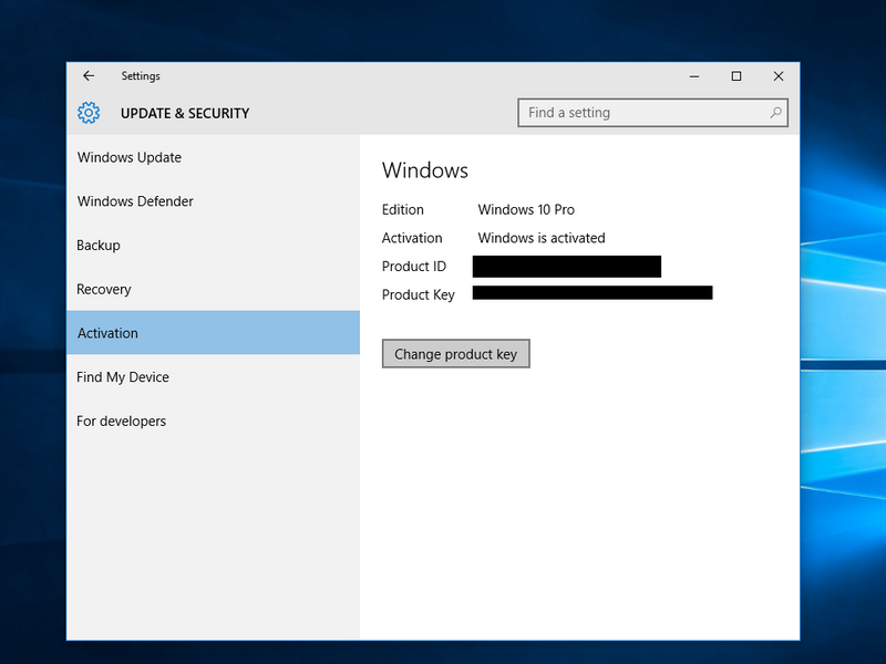 Windows 10 Update & Security Settings