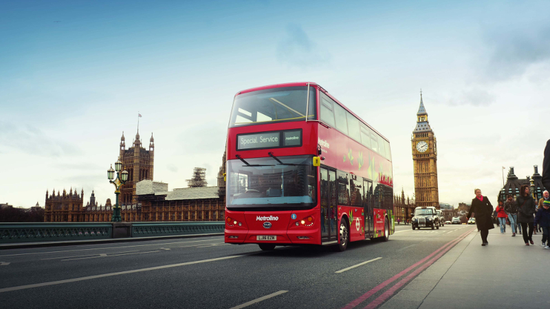 All-Electric Double-Decker Bus In London
