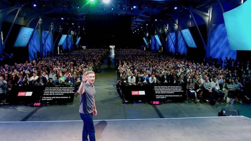 Mark Zuckerberg on stage with Phantom 4