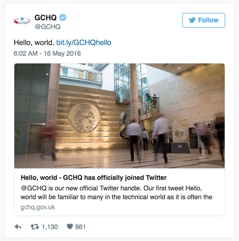 U.K.'s Government Communications Headquarters Says 'Hello' To The World On Twitter