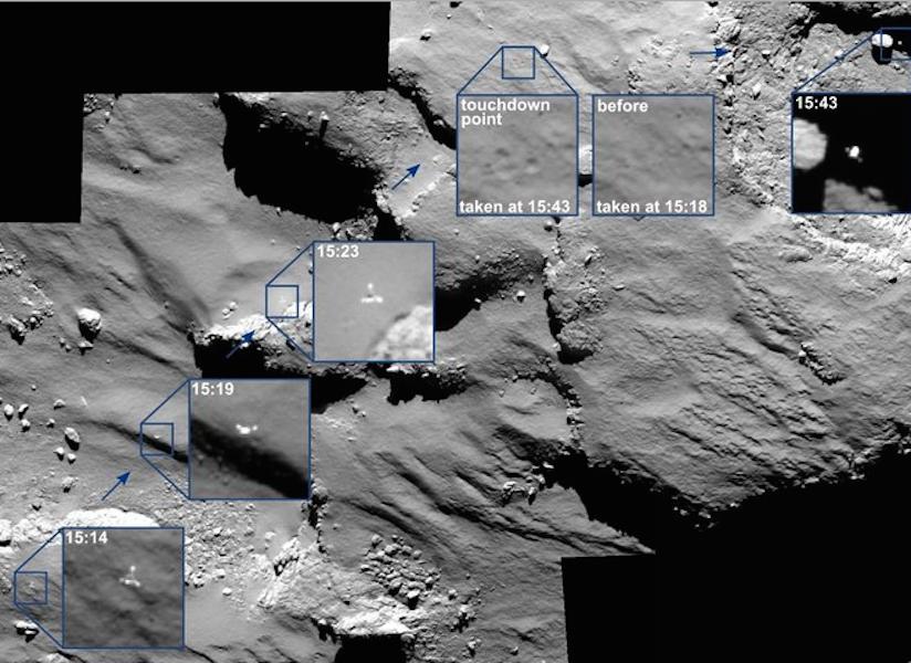 Rosetta camera tracked Philae's landing attempts on comet.