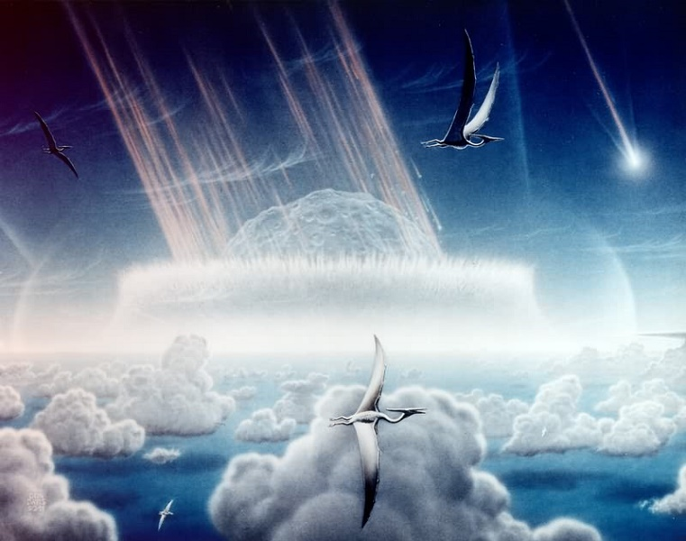 Painting showing the events of the Cretaceous-Tertiary extinction event
