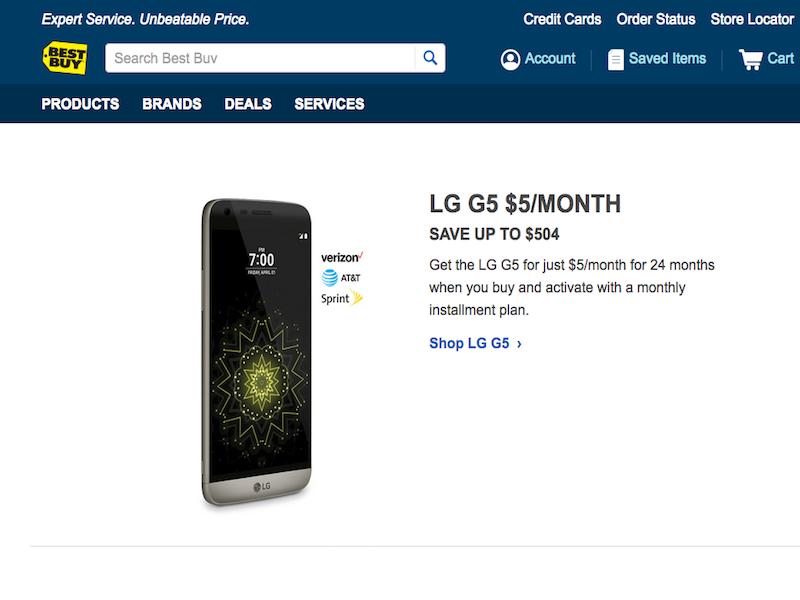 Best Buy LG G5 Deal