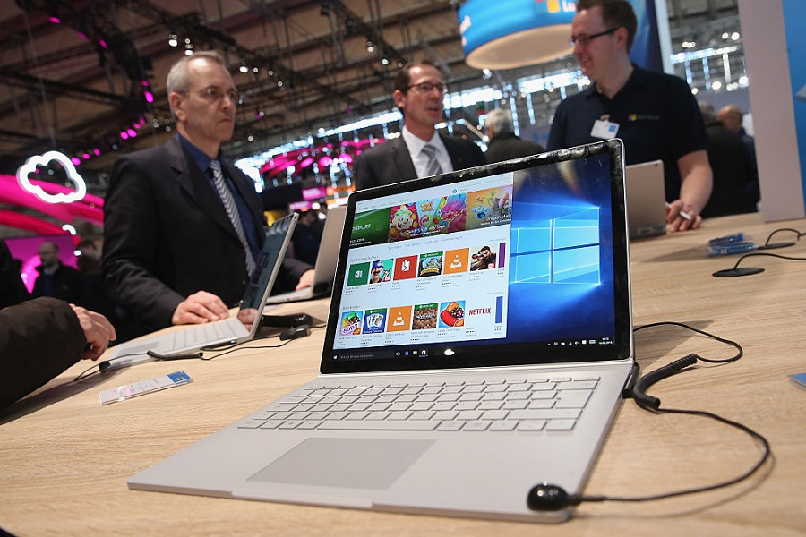 Surface Book laptop at the Microsoft stand at the 2016 CeBIT digital technology trade fair
