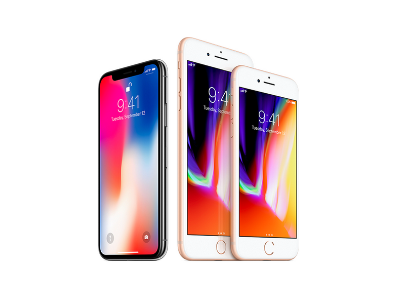 Apple iPhone X, iPhone 8 Plus, and iPhone 8