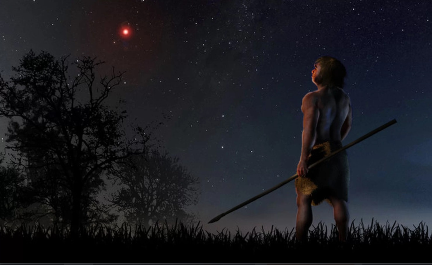 Neanderthal looking at the sky