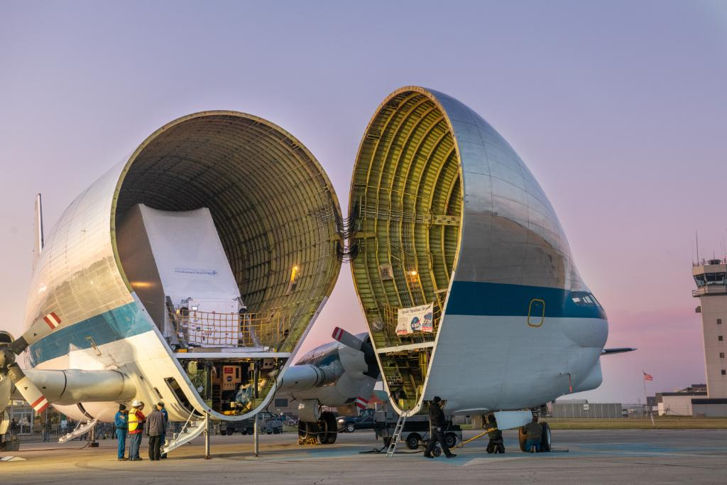 Super Guppy nose is opened to unveil the Orion