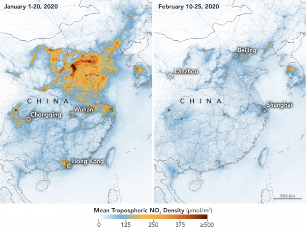 COVID-19 Silver Lining: NASA Reveals Images Showing Significant Decrease of Nitrogen Dioxide Over China