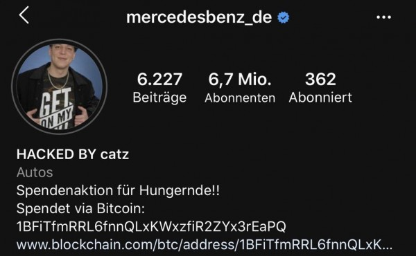 [BREAKING] Mercedez-Benz Instagram Got Hacked; Suspects Posted Swastika Logos and Bitcoin Donation