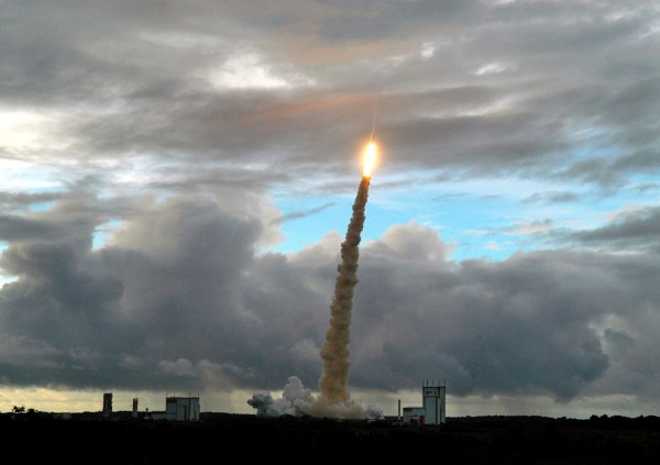 The Ariane-5 ECA launcher lifts off from the Kourou base in French Guiana