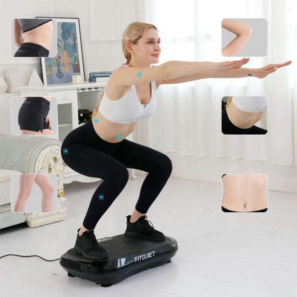 FITQUIET Vibration Plate Exercise Machine with Loop Resistance Bands