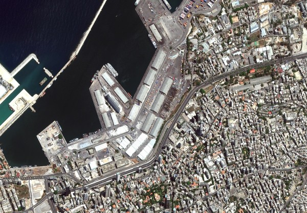 A satellite image shows the port of Beirut