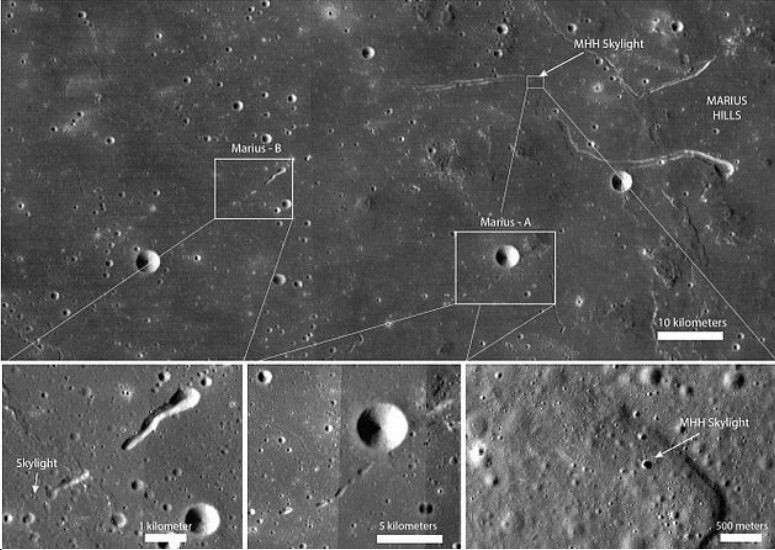 The lava tubes on the Moon
