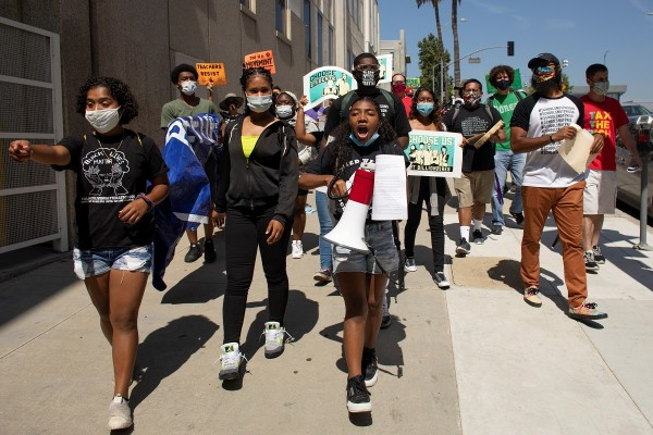 Protesters and students demonstrate over funding and reopening of schools in Los Angeles