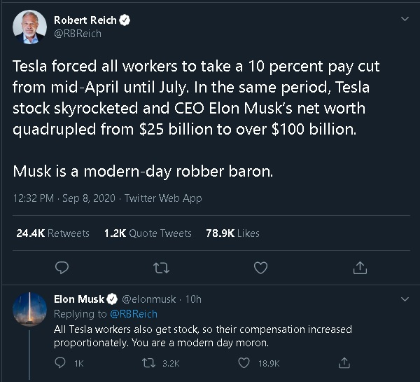 elon musk lashes out at ex labor secretary robert reich who called him a modern day robber baron tech times elon musk lashes out at ex labor