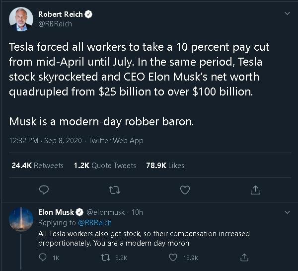 Elon fired back at Ex-Labor Secretary Robert Reich