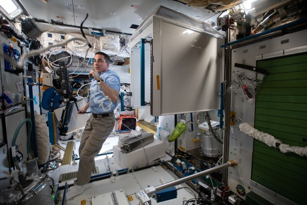 Expedition 63 Commander Chris Cassidy calls down to Mission Control