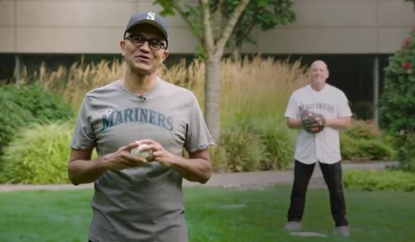 Seattle Mariners Jump Starts Baseball Season with Microsoft CEO Satya Nadella and Master Chief Doing First Virtual Pitch