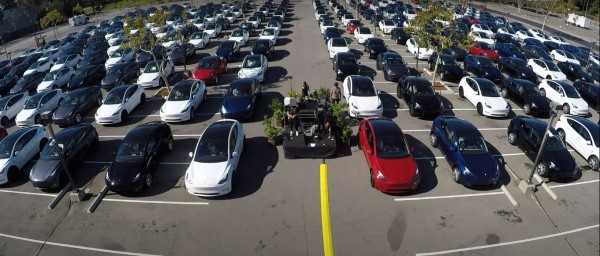 Tesla vehicles line up during the Tesla Battery Day