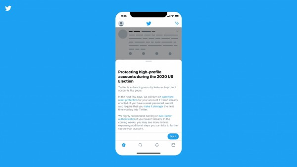 Twitter notification sent to high-profile accounts