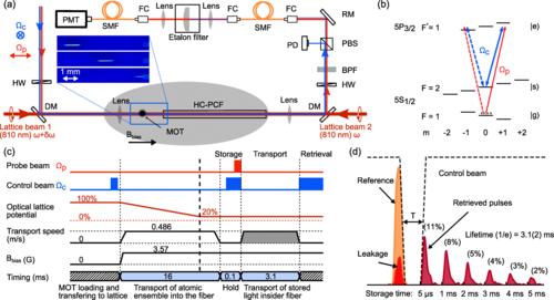 Transport of stored light inside HC-PCF