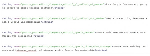 Some hidden code strings showing Google's decision over the app features