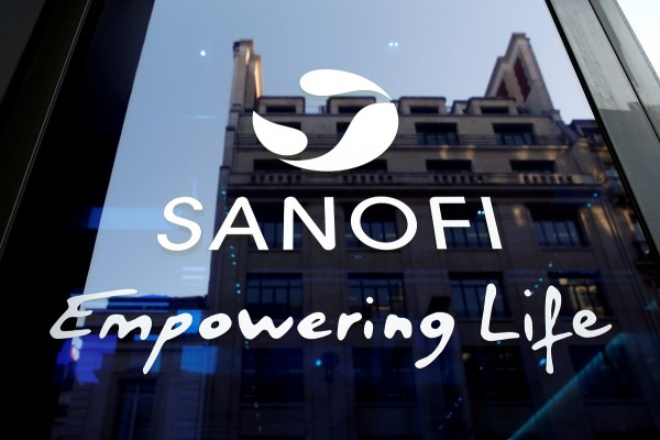 A Sanofi logo is seen during the company's annual results news conference in Paris, France