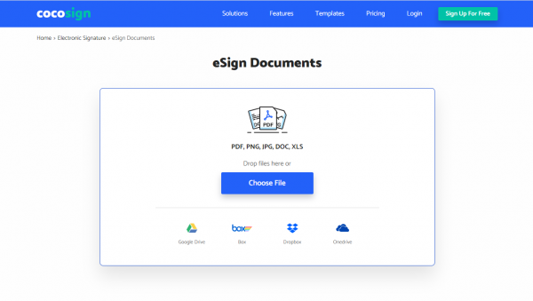 e-signing page of CocoSign