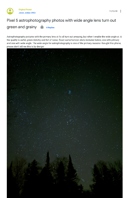 Google Camera Update Takes Away Wide-Angle Astrophotography Feature from Pixel Phones