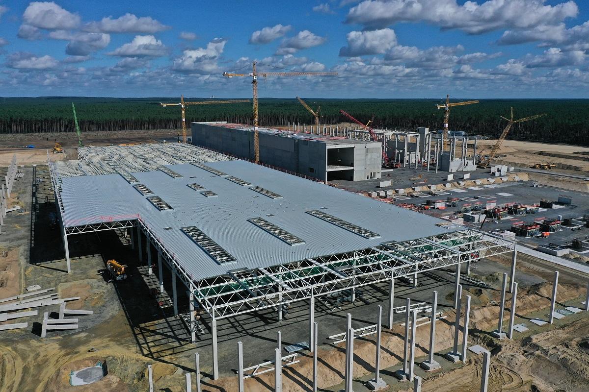 Aerial Views Of New Tesla Gigafactory Construction Site