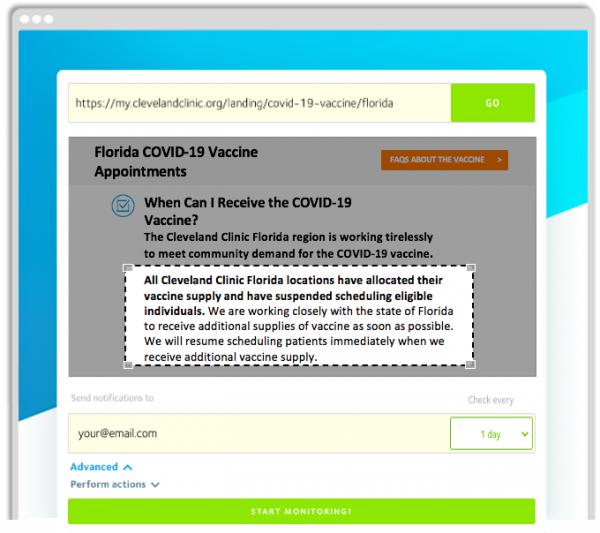 VisualPing COVID-19 Vaccine Alerts