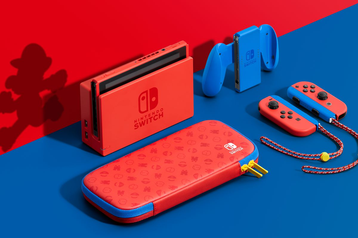 Super Mario Blue Red Switch Console Available at Best Buy and Other Stores Now
