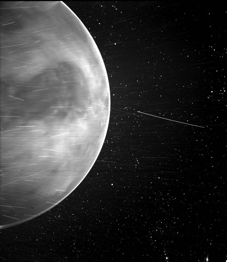 Parker Solar Probe's WISPR instrument detected a bright rim around the edge of the planet that may be nightglow