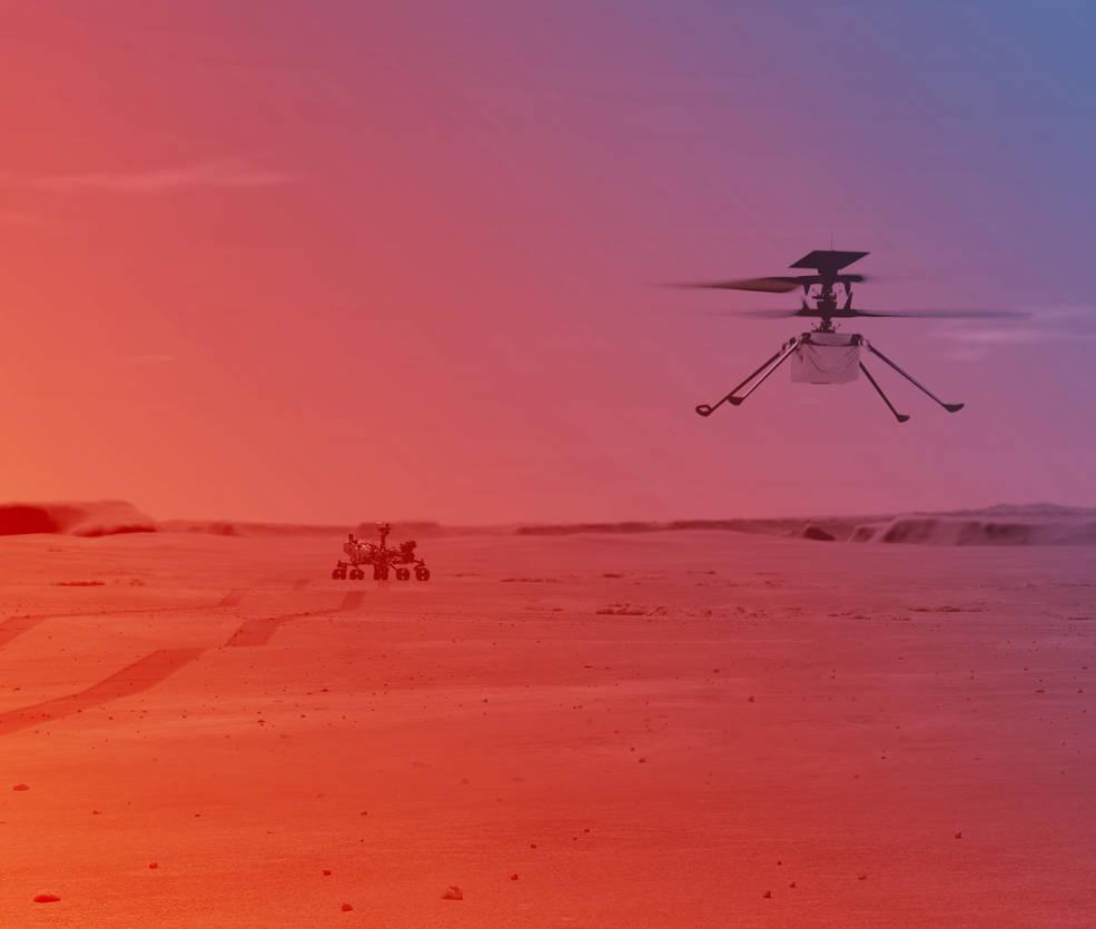 Ingenuity Mars Helicopter Mid-flight