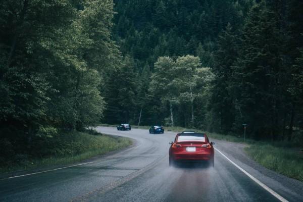 tesla driving on road