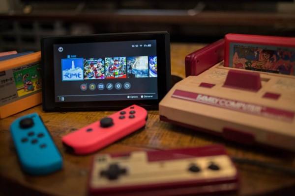 Nintendo switch with famicom