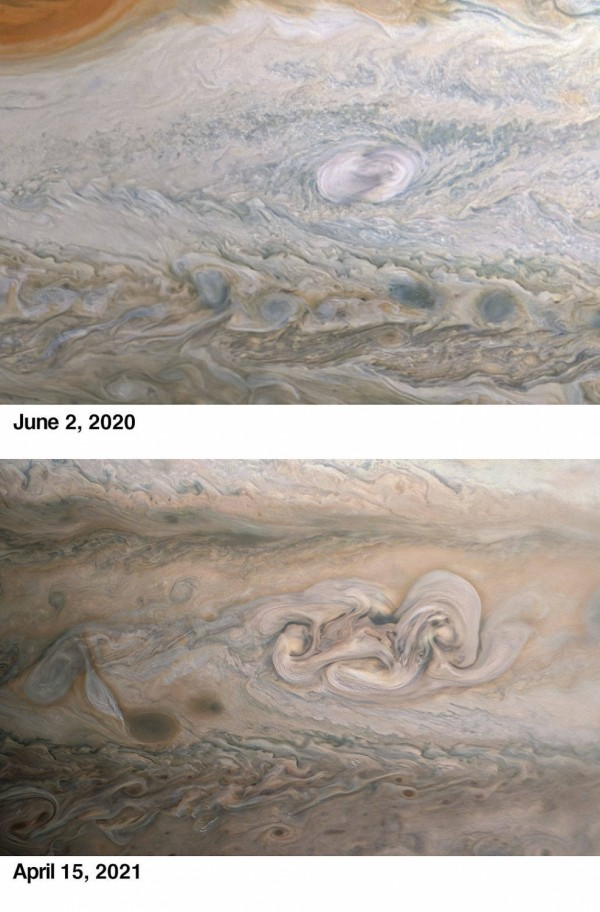 NASA's Juno Spacecraft Captures Unusual Features of Clyde's Spot Near Jupiter's Famous Great Red Spot