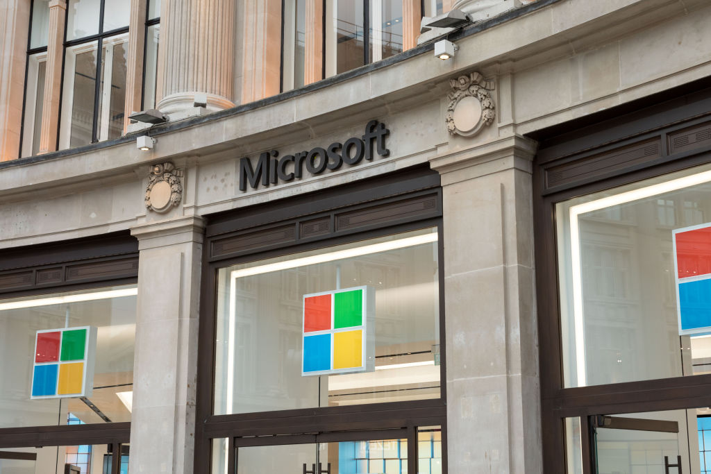 Microsoft logo is seen at one of their stores on Oxford...
