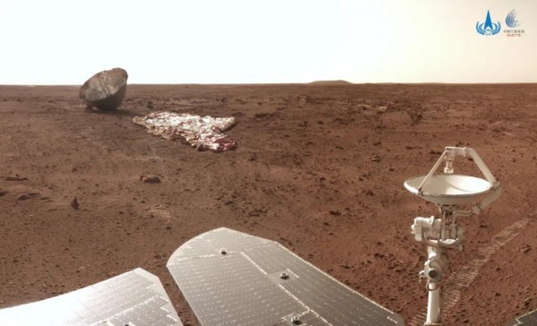 Zhurong Mars Rover Takes Photo of Its Parachute
