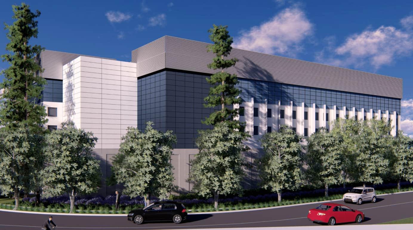 A rendering of Prime Data Centers' future Martin Avenue facility in Santa Clara, California.