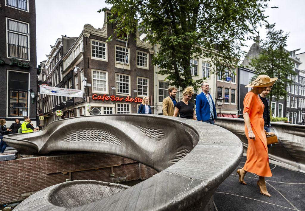 Queen Maxima of the Netherlands Crossing 3D Printed Metal Bridge / Getty Images