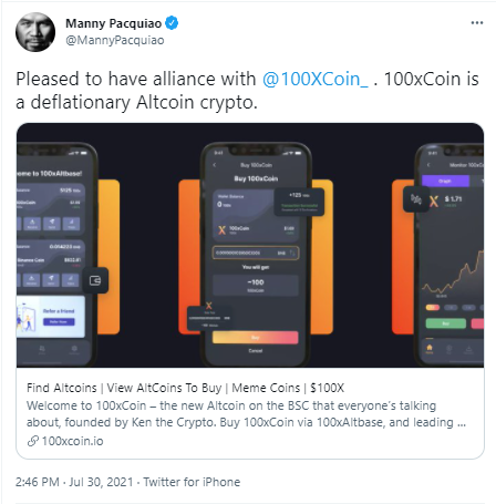 Manny Pacquiao Tweets 'Alliance' with 100xCoin   Is This Boxer Really Supporting an Altcoin?