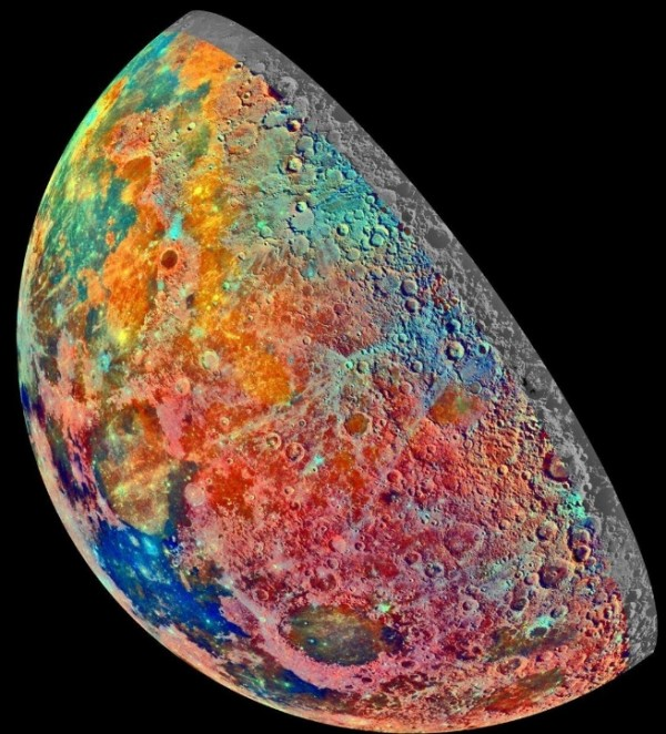 NASA: Galileo Space Probe Captures Image of Moon's Colorful Shades