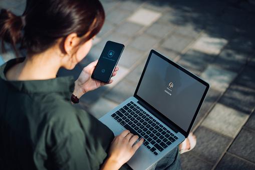 Laptop phone user