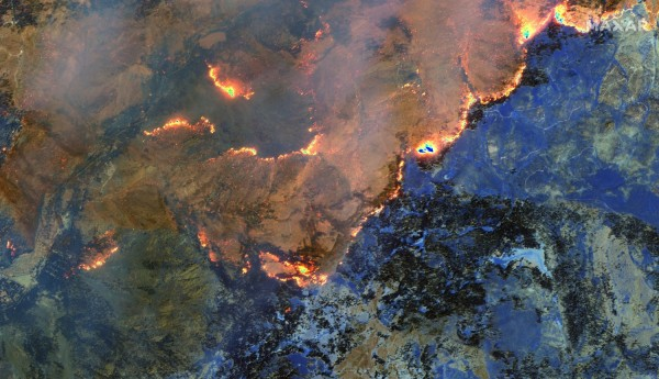 Infrared Satellite Imagery of the Dixie Fire in Greenville, California