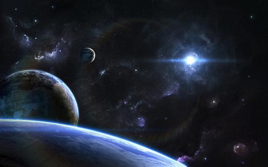 Exoplanet art blue