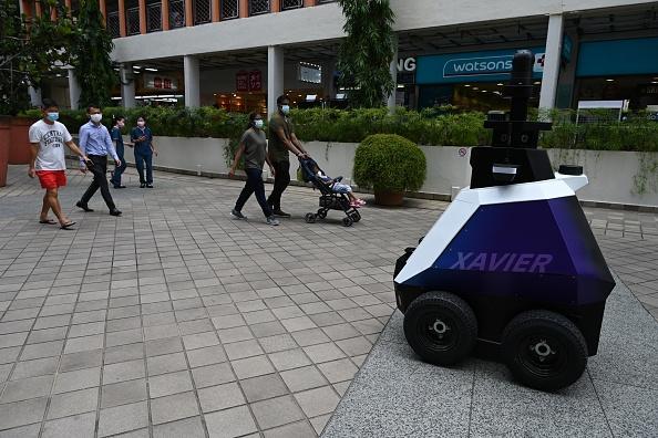 Robot patrolling singapore