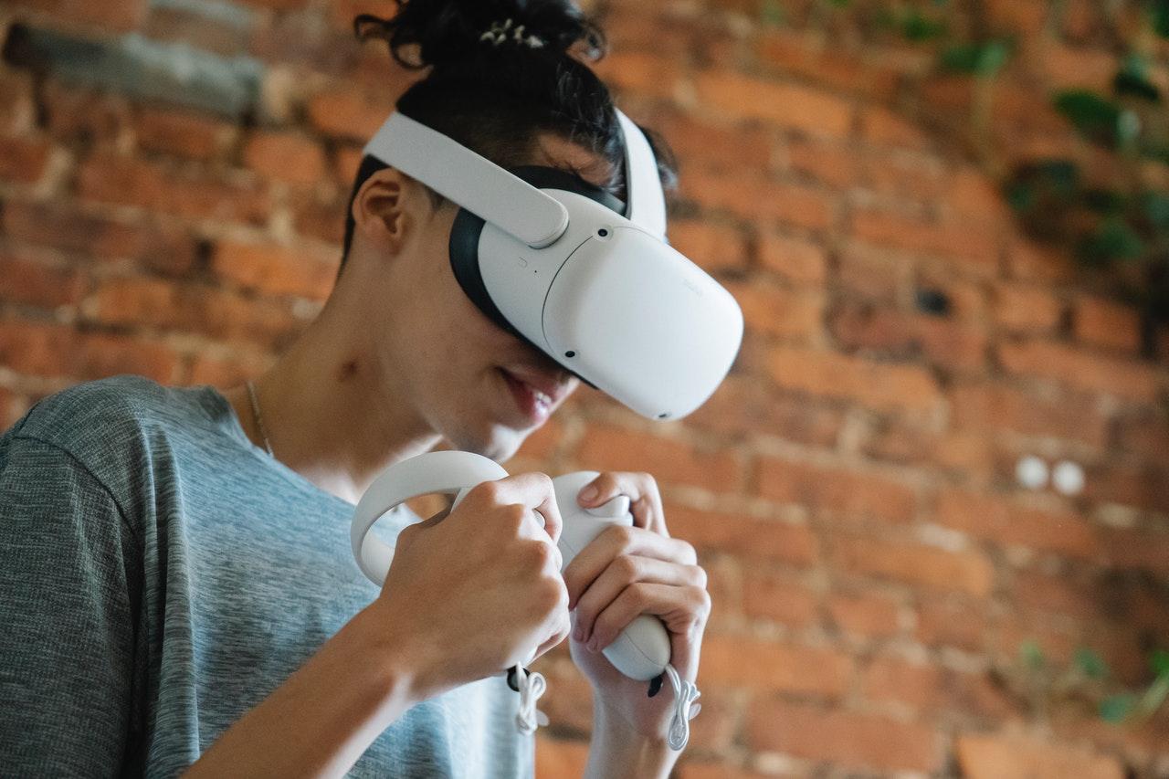 Boy Wearing a VR Headset